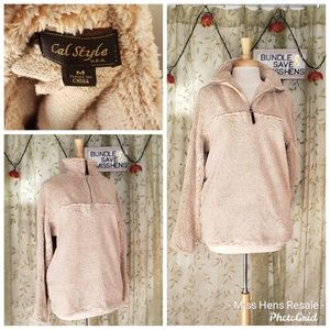 CAL STYLE TURT NECK SOFT FUZZY CREAM TAN PULL OVER